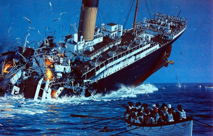 04 - Around 220 AM Titanic lost her fight against the North Atlantic and broke up and sank with over 1500 people aboard her