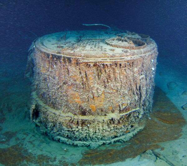 13 - One of Titanic039s boilers that fell out when the ship broke up